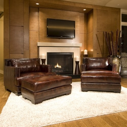 Pendulum Accent Chair Old Saddle Black Chimney: Easton 2-Piece Set Top Grain Leather Accent Chair And