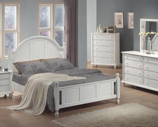 Bedrooms Furniture - Transitional white Master Bedroom Set