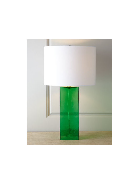 "Horchow - Glass Base Table Lamp - Exclusively ours. Contemporary table lamp balances a rectangular, transparent glass body with a round shade for a look that enhances the room with a pop of color as it provides illumination. Linen shade. 9"" harp. Uses one 100-watt bulb. 15""Dia. x..."