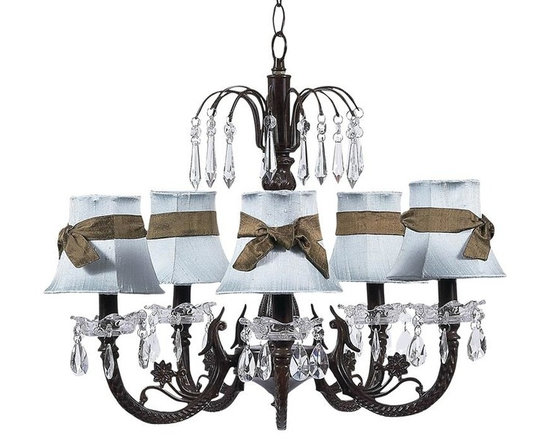 Belle & June - Olivia Chandelier - This strikingly elegant 5-arm ivory chandelier features tailored pink or blue dupioni silk shades, a dramatic mocha iron base, and hanging crystals throughout. We love hanging this gorgeous light fixture in the center of child's room or nursery. So chic!