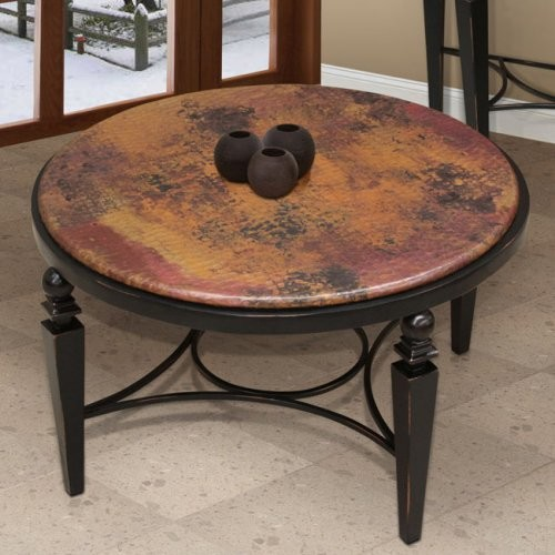 Artisan Tribecca Round Copper Coffee Table Contemporary Side Tables And End Tables By