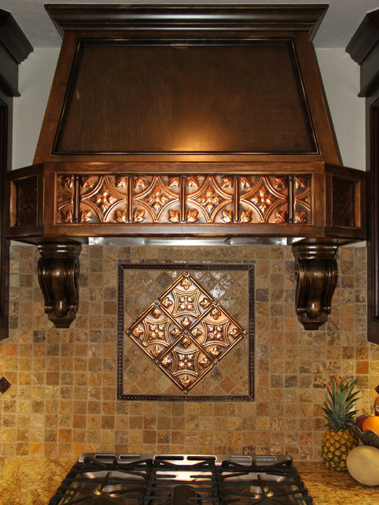 Unique Applications with Tin Ceiling Tiles - Spruce up your kitchen with tin tile accents.