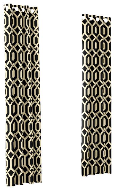 Black Angular Trellis Custom Grommet Drapery Single Panel modern-curtains