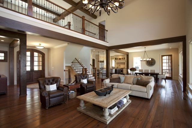 Cuscowilla lake home indian trail traditional living for Indian living room interior design photo gallery