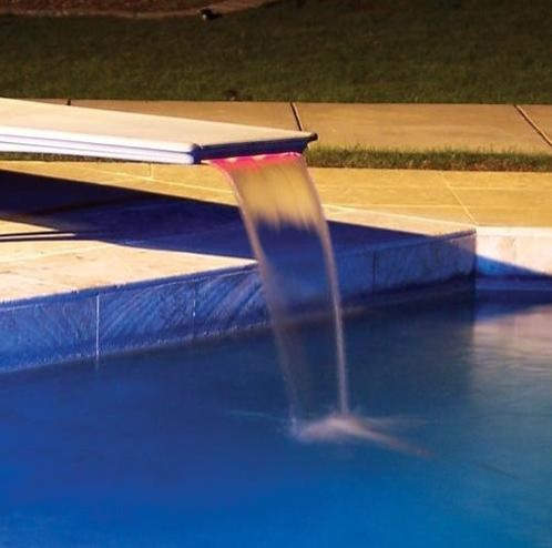 Inter-Fab T7 Edgewater Diving Board Waterfall with LED Lighting tropical-outdoor-products