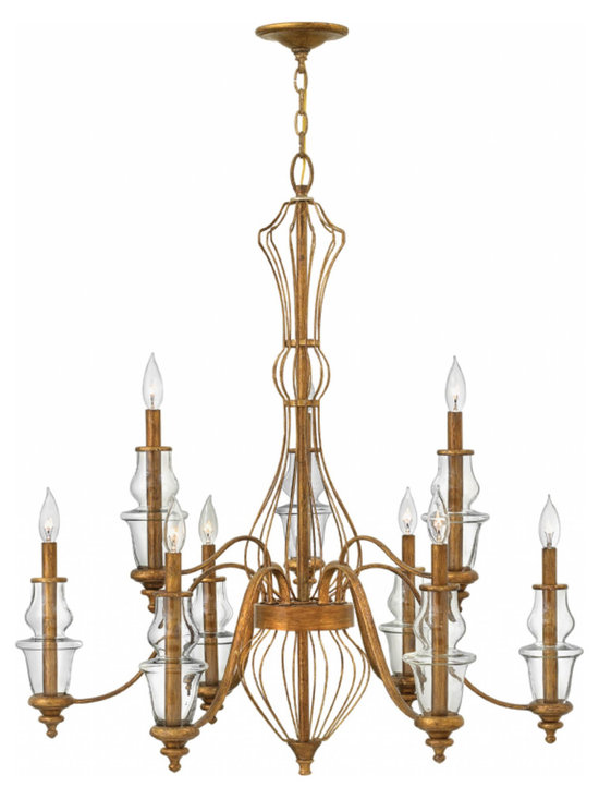 Hinkley Lighting - Celine Chandelier - The Celine Chandelier is available with Clear glass and a Gold Leaf finish. Available in three sizes. 60 watt 120 volt B10 type candelabra base bulbs are required, but not included. Canopy diameter is 5.5 inches. Small: 25 inch width x 25 inch height x 145 inch maximum hanging length. Medium: 30 inch width x 33 inch height x 153 inch maximum hanging length. Large: 34 inch width x 37 inch height x 157 inch maximum hanging length.