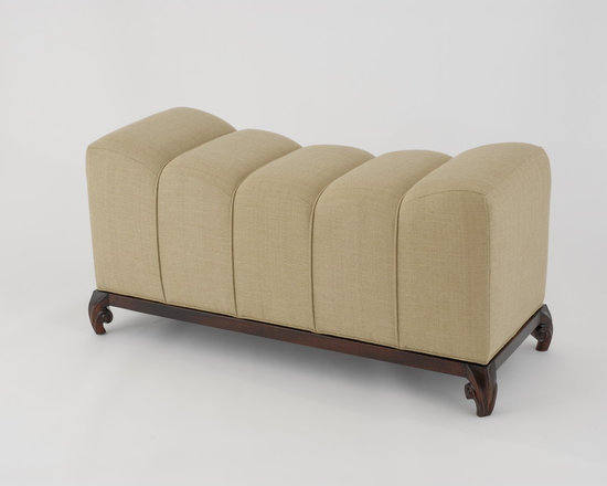 Risa Bench - Art | Harrison Collection - Hand carved mahogany base with segmented COM upholstery.