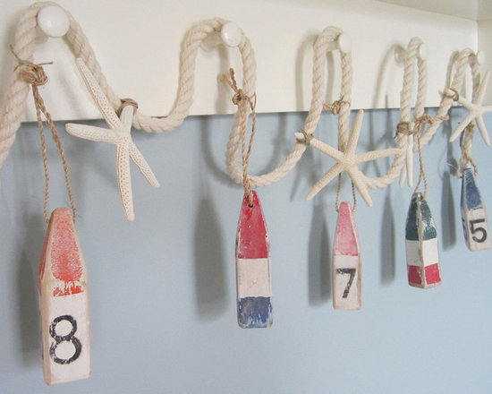 Nautical Decor Buoy & Starfish Garland - Beach Decor Garland - Nautical decor buoy and starfish garland. My beach decor nautical rope garland features mini hand painted and distressed wooden buoys and white finger starfish hanging from heavyweight cotton nautical roping. Perfect for the sailor, beach lover, or anyone in your life who's a bit salty!!