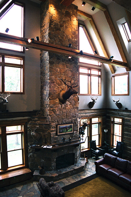 Great room of hunting lodge eclectic-family-room