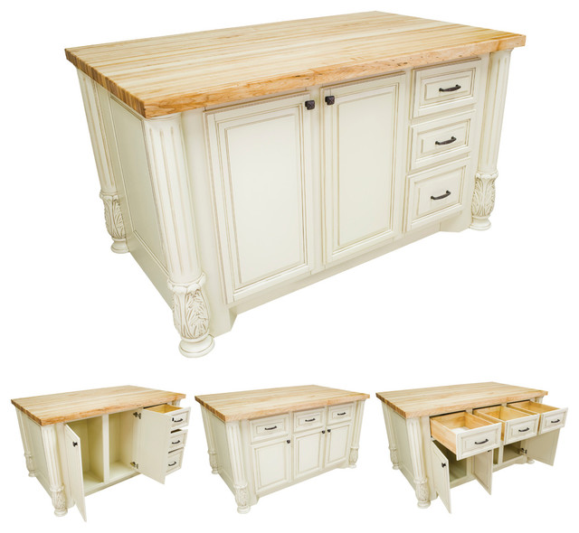 Lyn Design ISL05-AWH White Kitchen Island traditional-kitchen-islands-and-kitchen-carts