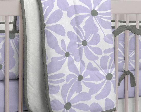 Lilac Twirly Crib Bedding -