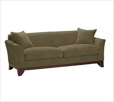 Greenwich Upholstered Sofa, Down-Blend Wrap Cushions, Velvet Sage - Traditional - Sofas - by ...