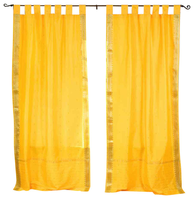 Pair of Yellow Tab Top Sheer Sari Curtains, 43 X 63 In. traditional-curtains