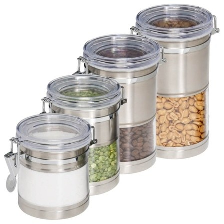 stainless and acrylic canisters set of 4 modern