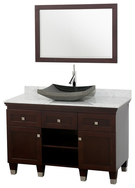 "Wyndham Collection 48"" Premiere Espresso Vanity Set w/ White Carrera Marble Top modern-bathroom-vanities-and-sink-consoles"