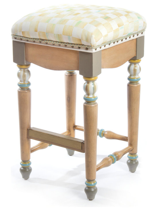 Parchment Check Bar Stool | MacKenzie-Childs - Pull up a seat! Cushioned seat is upholstered in our signature checked linen fabric, accented with antiqued brass nailhead trim and decorative tape trim. Solid hardwoods, hand decorated. Brass kick plate ensures lasting durability.