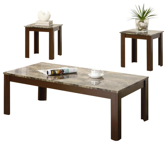 Coaster 3 piece occasional table sets cocktail and end table set in brown transitional side Side table and coffee table set