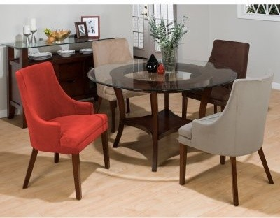 Round Glass Top Dining Table Set With Arm Chairs Modern Dining Tables
