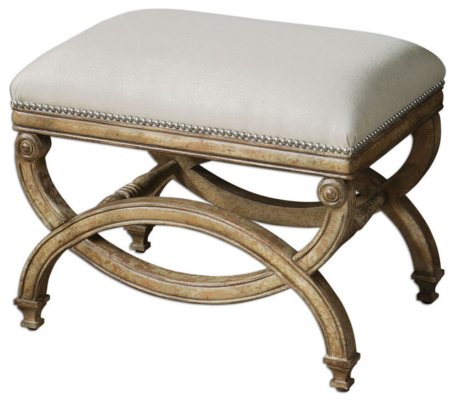 Karline Natural Linen Small Bench contemporary-indoor-benches