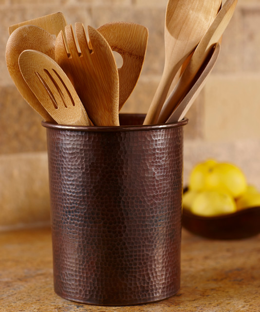 Copper utensil holder by native trails traditional san for Kitchen utensil holder