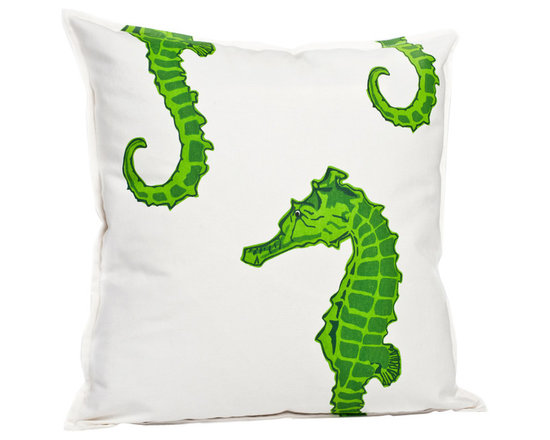 ecoaccents Green Seahorse Cotton Canvas Pillow