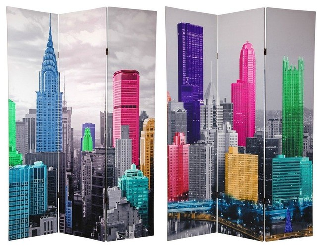 6 Ft Tall Colorful New York Scene Room Divider Eclectic