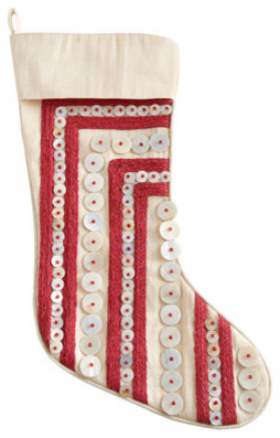 Red Raffia Stripes on White Christmas Stocking traditional-holiday-decorations