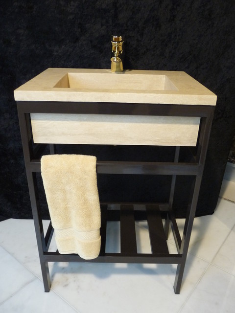 Custom Stone Sink with metal Stand - contemporary - bathroom sinks ...