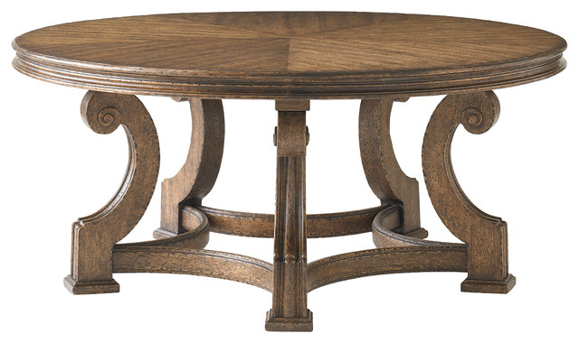 La Palma Living Room Round Cocktail - Caramel Finish traditional-coffee-tables