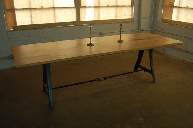 Antique iron machine legs contemporary dining tables for Old iron table legs