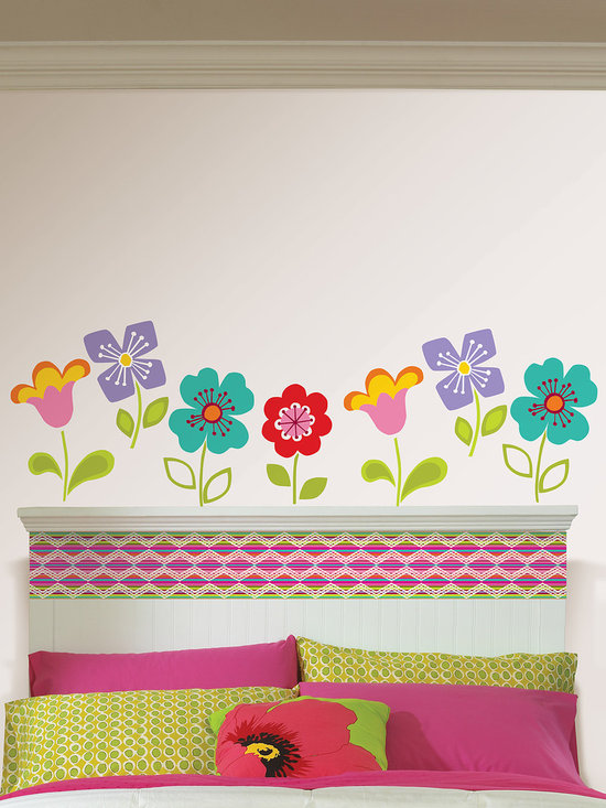 "Petal Blox Set of Wall Decals - Bright and colorful these Petals WallPops will go great in a kid's room. This pack comes with 24 flowers (8 each of 4 floral designs) that come on twelve 13"" x 13"" sheets. WallPops are always repositionable and removable."