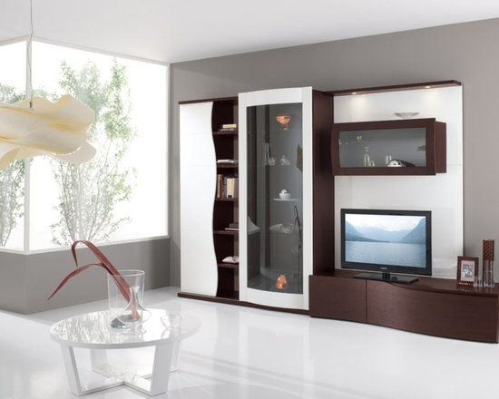 Modern Contemporary Entertainment Center Spar Avana 110 - $5,888.00 - Modern Contemporary Entertainment Center Spar Avana 110 in combination of Wenge finish with White High Gloss finish. High quality and unique design. Lots of storage space. Made in Italy by Gruppo Spar.