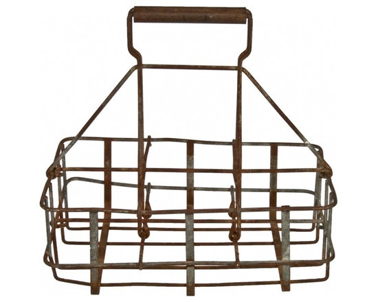 "Milk Bottle Carrier - This rustic wire carrier has divided compartments to hold 6 bottles, Each is approximately 4"" square."