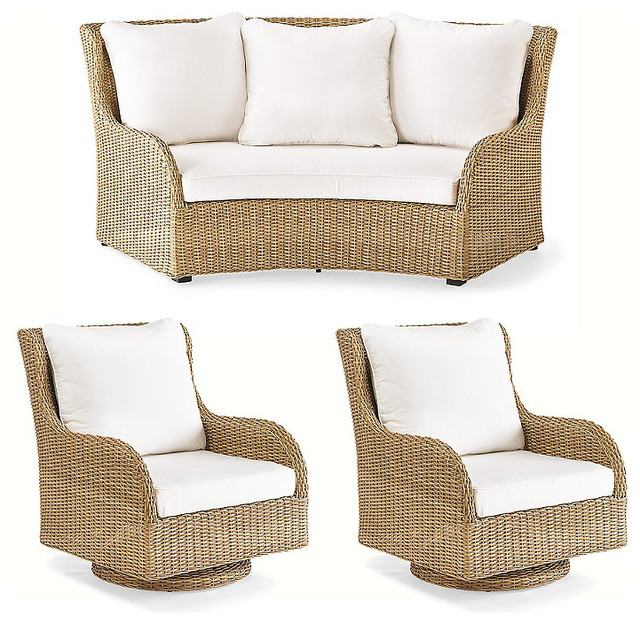multicolored grove curved outdoor sofa set traditional outdoor sofas by frontgate