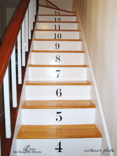 numbered stairs wall decals. Black Bedroom Furniture Sets. Home Design Ideas