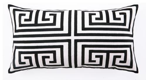 Black Greek Key Lumbar Pillow contemporary-pillows
