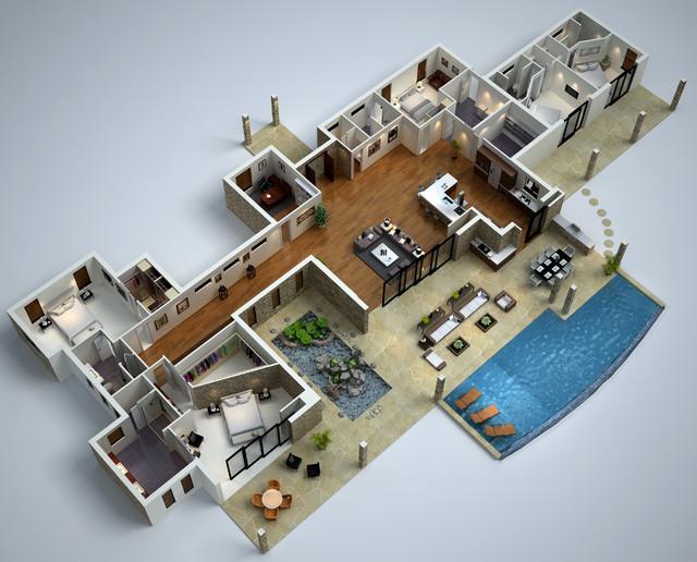 Villa Floor Plan 3d 3d Floor Plans Floor Plan
