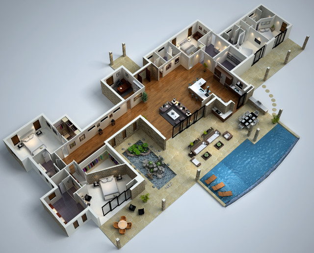 Modern house 3d floor plans acfm