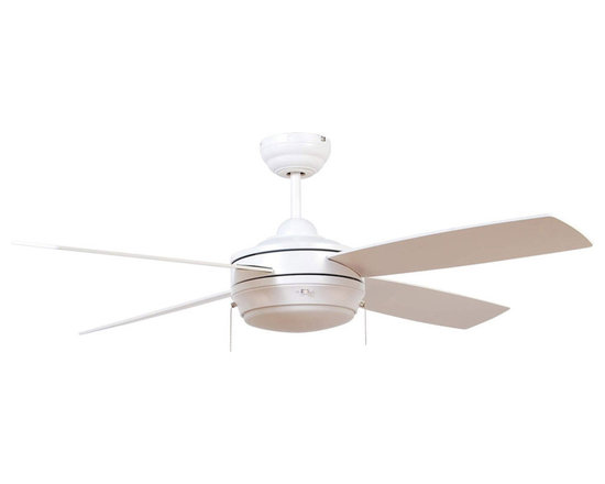 "Ellington Fans - Ellington Fans E-LAV52MWW4LK Matte White Modern Modern Indoor 4 Blade - Ellington Fans Laval-52 Modern Indoor 4 Blade 52"" Ceiling Fan with Light KitGive a sophisticated presentation to your room with the Laval Ceiling Fan from the Modern Collection by Ellington Fans. The fan is a simple way to create the appearance that you ve been looking for.Current, fresh, and sophisticated. Ellington Fans Modern Collection is that unexpected edge that is sure to stand out in a crowd. Let your confidence radiate, while your style envelops your space.Ellington Fans Laval-52 Features:1 x 100 Watt Down Light Kit IncludedEllington Fans Laval-52 Specifications:CFM: 4591.4Watts: 55.6Height from Blades: 11.5""Height from Ceiling: 14""Light Kit Adaptable: YesLight Kit Included: YesNumber of Blades: 4Blade Span: 52""Control Type: Pull ChainMount Type: Dual-MountMotor Size: 153mm x 15mmEllington Fans Laval-52 Blade Finishes:  Brushed Pewter Finish  - Silver Blades Espresso Finish  - Dark Oak / Mahogany Blades Matte White Finish  - Matte White Blades"
