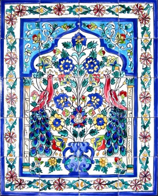 mosaic peacock art 20 tile ceramic wall mural