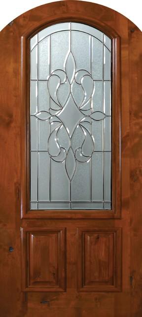 Slab Single Door 80 Wood Alder New Orleans Arch Top Arch Lite Glass mediterranean-front-doors