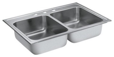 Moen Camelot 22212 Double-bowl, drop-in Stainless Steel Kitchen Sink - 3-Hol modern-kitchen-sinks