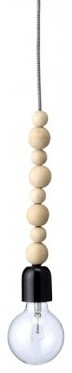 Bloomingville Hanging Lamp with 8 Wooden Beads contemporary-pendant-lighting