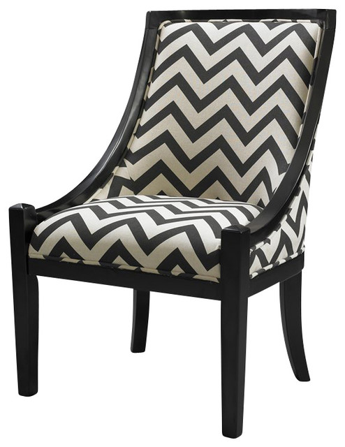 Linon Carnegie Chevron Chair in Black transitional-dining-chairs