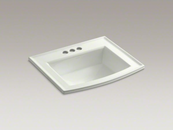 "KOHLER Archer(R) drop-in bathroom sink with 4"" centerset faucet holes contemporary-bathroom-sinks"