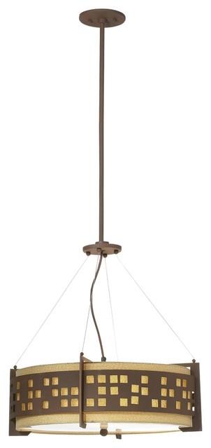 "Art Deco ACafe Urban Skyline Rust 44"" High Pendant Light modern-pendant-lighting"