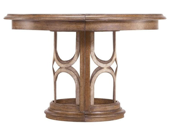 Stanley Furniture - Archipelago-Monserrat Round Pedestal Table - Bringing together tropical design touches  with Asian influences, the Monserrat Round Dining Table with a visually rich walnut inlay adapts to suit styles from casual to formal. The addition of one leaf expands the table to an oval, mirroring the arc-motif of the base.