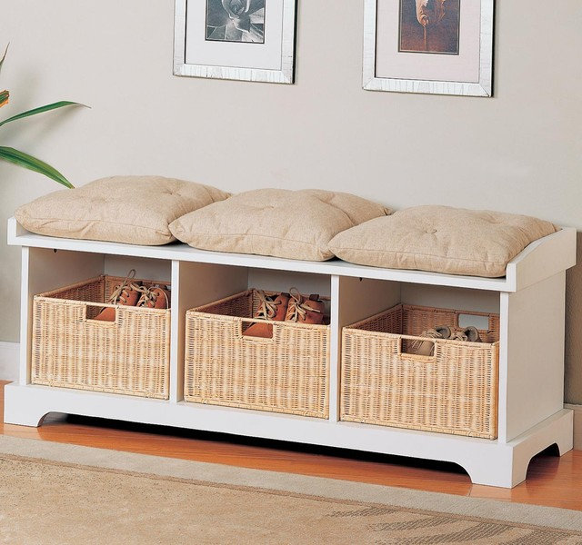 Benches Storage Bench with Baskets by Coaster Sku: 501054 contemporary-accent-and-storage-benches