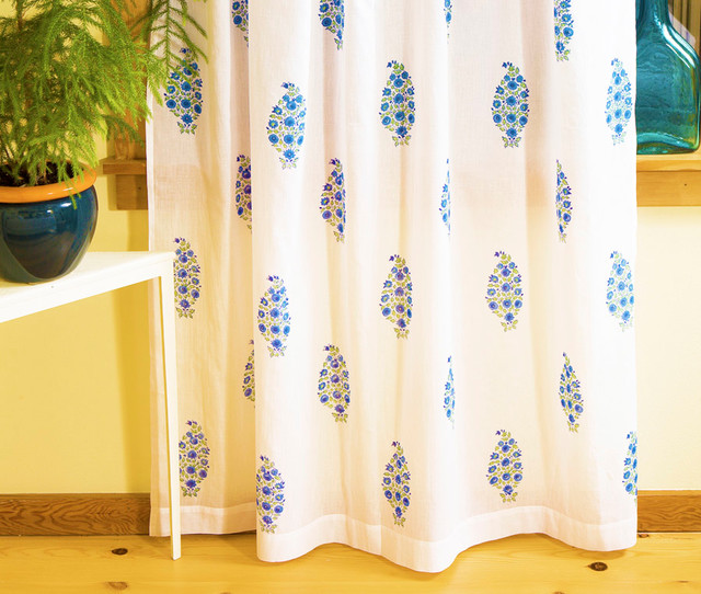 blue patterned curtains tropical windows and doors
