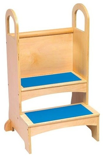Kid S Two Step Stool In Wood W Handles Amp Non Slip Steps